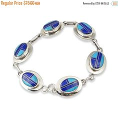Navajo Turquoise Lapis Inlay Silver Link Bracelet, Navajo Link Bracelet, Silver Link Bracelet, Freeshipping USA, Gift for her
