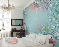 A soft delicate array of flora set against a subtle teal background create this peaceful mural, a perfect addition to any décor in any room. Bedroom Wallpaper Murals, Girl Wallpaper, Photo Wallpaper, Wall Murals, Spring Wallpaper, Interior Decorating, Interior Design, Interior Inspiration, Flora