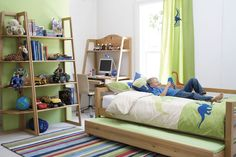 Blue And Lime Green Color Scheme Bedroom Design Ideas : Amusing Blue and Lime Green Bedroom Design with Wooden Frame Trundle Bed and Wooden Study Desk also Colorful Stripe Rug Bedroom Colour Schemes Green, Green Bedroom Design, Bedroom Green, Kids Room Curtains, Kids Bedroom, Bedroom Decor, Bedroom Setup, Baby Bedroom, Luxury Bedroom Furniture