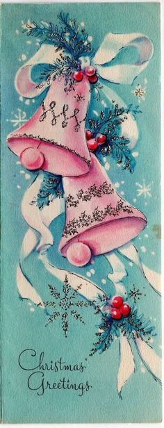 MCM Pink Blue Silvered Glitter Bells Snowflake AS IS VTG Christmas Greeting Card
