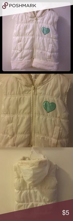 Girls hooded vest White hooded puffy vest with faux fur Jackets & Coats Vests