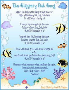 "Large group: Students will be able to sing and repeat ""the slippery fish"" song. They will develop fine motor coordination Kindergarten Songs, Preschool Music, Preschool Classroom, Preschool Activities, Montessori Elementary, Beach Activities, Preschool Age, Therapy Activities, Beach Theme Preschool"
