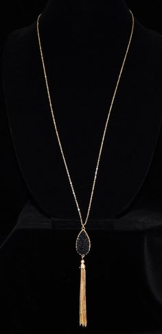 TEARDROP SIMULATED DRUZY TASSEL LONG NECKLACES - Color : GOLD-BLACK - Size : 30inch