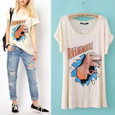 836b22024f26 Hot Women Cartoon Dinosaur Printed Loose Short Sleeve Top T-shirt Blouse  Shirt