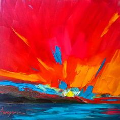 This abstract landscape art is a small accent piece by AwaparaArt, $75.00