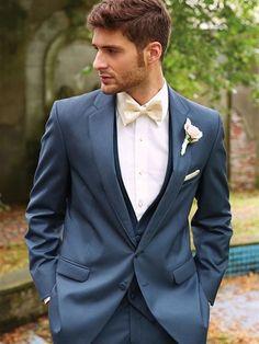 23 Slate and Dusty Blue Wedding Ideas Blue Groomsmen Suits, Navy Tuxedos, Groom And Groomsmen, Groom Suits, Blue Suits, Groomsmen Tuxedos, Men's Suits, Blue Suit Wedding, Kleding
