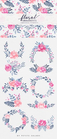 This pack includes :  10 high definition hand-drawn floral ornaments in transparent PNG. Over 35 individual floral elements to create your own ornaments. 1 seamless pattern. EPS file with vector leaf elements. 1200 DPI High quality images.