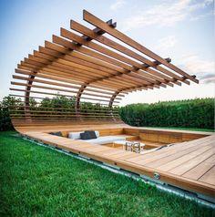 Beautiful modern pergola shading a sunken seating area Landscape Architecture, Interior Architecture, Landscape Design, Garden Design, House Design, Landscape Sketch, Outdoor Spaces, Outdoor Living, Design Exterior