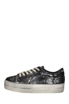 Sneakers compensées cuir lamé Plato Argent No Name sur MonShowroom.com