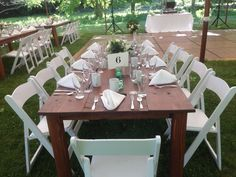 These beautiful English Chestnut Farmtables create the perfect touch to your CT farm wedding! #tentsunlimitedct