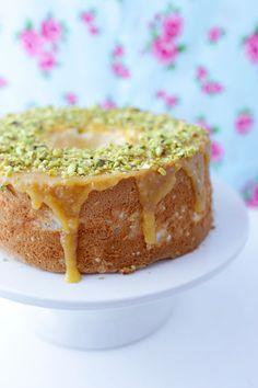 Lemon and Pistachio Angel Food Cake | She Sows Seeds