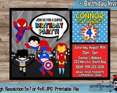 Invitación del cumpleaños del Super héroe por KawaiiKidsDesign