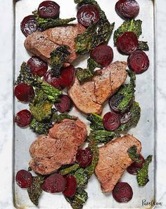 One-pan steak with beets and crispy kale. Get this and a whole week of keto recipes here.