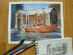 watercolor ship