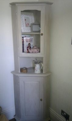Pine corner unit painted in Annie Sloan Country Grey. £40 Facebook: the little vintage cellar Furniture, Room, Decor Design, Annie Sloan Country Grey, Bookcase, Corner Unit, Home Decor, Corner, Corner Dresser