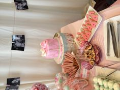 Shabby chic twin baby shower dessert table