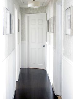Half wallpaper half paneling in Hallway....maybe just a gray texture?....Deirdre Desrosiers Interiors: Wallpaper in Hallway
