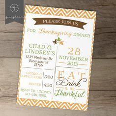 Thanksgiving invitation / invite / fall party / autumn by greylein, $14.00