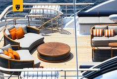 The most customized Amels Limited Editions to date, ENGELBERG has been designed to perfectly meet her Owner's needs. Advanced personal communications systems, a unique aft deck layout, and a charcoal grey hull with a hint of orange make this yacht a true original. She features a stunning interior design by Enzo Enea, who blended the Mediterranean environment into the yacht's interior décor. Engelberg, Laying Decking, Deck Builders, Yacht Interior, New Deck, Communication System, Deck Plans, Interior Decorating, Interior Design