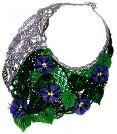 Bib-Style Necklace with Seed Beads and Glass Beads - Fire Mountain Gems and Beads  LEAVES & FLOWERS