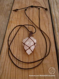 Handmade Knotted Macrame Basket Rose Quartz Arrowhead Crystal Necklace with Macrame Loop on Organic Veg Tanned Hand Dyed Round Leather Thong by WadadaAfrica on Etsy