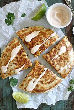 Black Bean Butternut Squash Quesadillas with Chipotle Lime Crema | girlversusdough.com @stephmwise