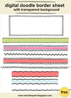FREE digital and printable doodle border sheet ********* fun for DIY sticker, DIY bookmarks and stationery embellsihment!!!