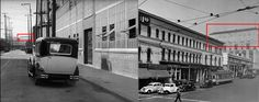 """""""As Chaplin's ambulance heads west down Jackson Street [Modern Times] below left, the high resolution Blu-ray image reveals the profile of the recently opened fourth Los Angeles Times Building in the far distance."""" Click to enlarge. Looking west down Jackson Street straight at the side of the fourth Los Angeles Times Building in the far distance. Right image, """"Dick"""" Whittington Photography Collection, 1924-1987, Department of Special Collections, University of Southern California"""