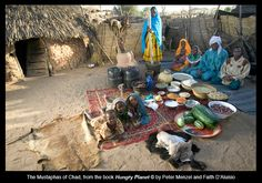 Hungry Planet: What the World Eats  – CHAD - $18.33 plus $25.44 in homegrown food    The Mustapha family in their courtyard in a village near Abeche, Chad's second largest city. Chad has more than 1 billion barrels of oil reserves. 2% of households have access to electricity. Life expectancy is less than 50 years for both men and women.