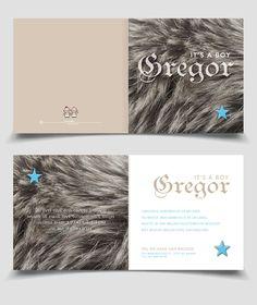 Cool boy birth announcement card fur / Stoer Geboortekaartje Jongen vacht   Jutenjul design