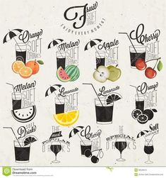 hand lettering styles | titles and symbols for Fruit Drinks type. Hand lettering style ...