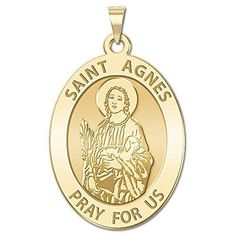 PicturesOnGold.com Custom Engraved Saint Agnes Oval Religious Medal - 10K And14K Yellow or White Gold, or Sterling Silver