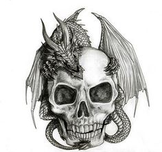 Skull & dragon tattoo