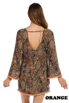 BOHO PRINT CUTOUT BACK CHIFFON SHIFT DRESS-Orange