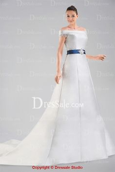 Dignified A-line Off-the-Should Floor Length Bridal Dress with Chapel Train