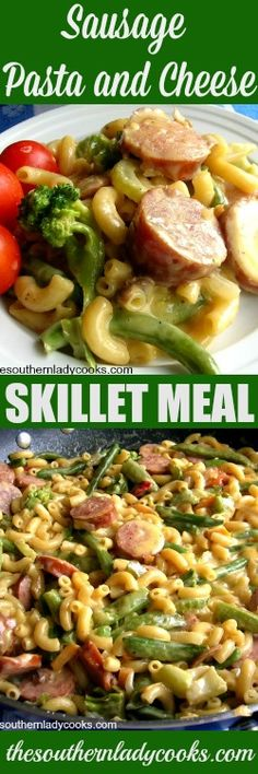 This Sausage, Pasta and Cheese Skillet is a quick and easy recipe to make for your family anytime. Just add some cornbread and you have a meal.