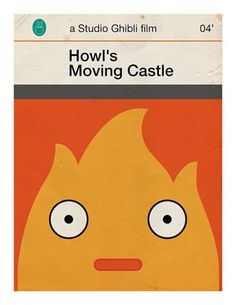 Miyazaki's Howl's Moving Castle reimagined as minimalist Penguin book covers.
