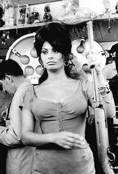 Sophia Loren on the set of Boccaccio '70, 1962.