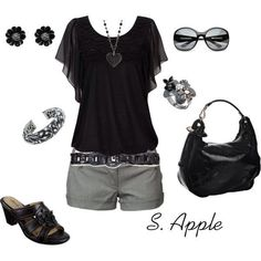 Very cute and comfy Dressy black tank top and shorts