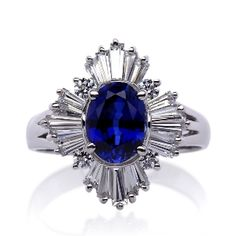 GETRUDE IN SAPPHIRE - lab created sapphire and diamond engagement ring - $278.00