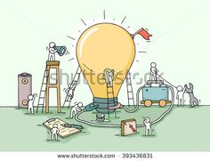 Sketch of lamp idea construction with working little people, battery, flag. Doodle cute miniature of building lighting lamp. Hand drawn cartoon vector illustration for business design and infographic.