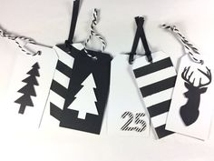 Black And White Christmas Tags  Tree Deer by HelloPaperCollection