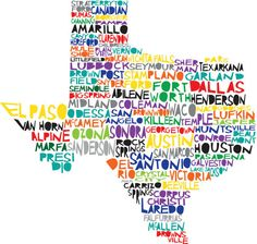TEXAS State Print Digital Illustration with Cities Listed Dallas Houston Austin San Antonio Manhattan Skyline, New York Central, Upper East Side, Hereford, Road Trip Usa, Texas Map With Cities, Wisconsin Cities, Texas Maps, Wisconsin Badgers