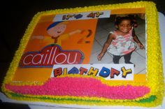 Caillou with picture on Plain cake