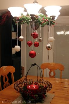Christmas decorating -- I like the idea of hanging Christmas ornaments from a chandelier