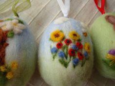 3 Needle felting easter eggs with spring by ElisFeltCraft on Etsy