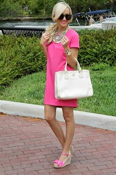 Love the dress but I have to switch shoes. That's too much pink for me