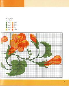 Cross Stitch Borders Cross stitch - flowers: Bindweed (part Cross Stitch Boarders, Cross Stitch Fruit, Cross Stitch Needles, Cute Cross Stitch, Cross Stitch Flowers, Cross Stitch Charts, Cross Stitching, Cross Stitch Embroidery, Cross Stitch Patterns