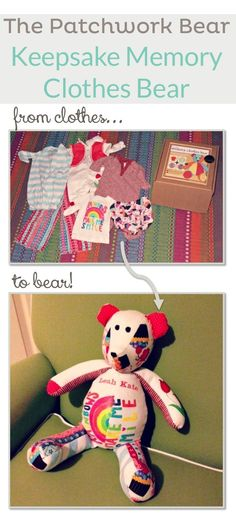 Patchwork Bear from baby clothes to bear