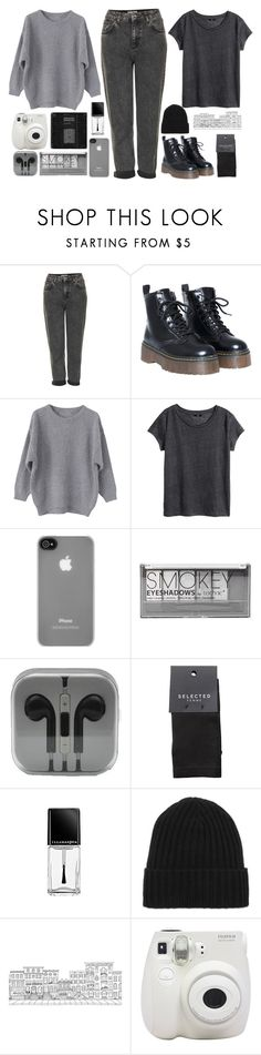 """""""Grey outfit"""" by blackcherrypie1 ❤ liked on Polyvore featuring Topshop, H&M, Incase, Boohoo, SELECTED, Illamasqua, N.Peal, Brownstone and Fujifilm"""